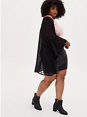 Black Flocked Dot Chiffon Kimono, DEEP BLACK, alternate