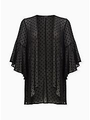 Black Flocked Dot Chiffon Kimono, DEEP BLACK, hi-res