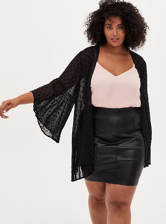 Black Flocked Dot Chiffon Kimono, , hi-res