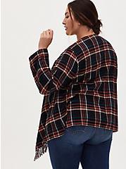Plaid Flannel Fringe Long Sleeve Kimono, PLAID - MULTI, alternate