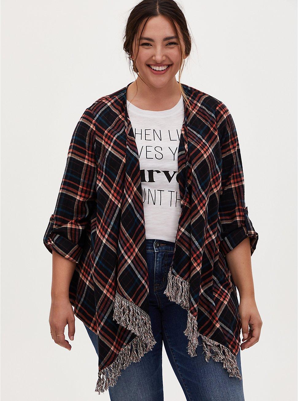 Plaid Flannel Fringe Long Sleeve Kimono, PLAID - MULTI, hi-res