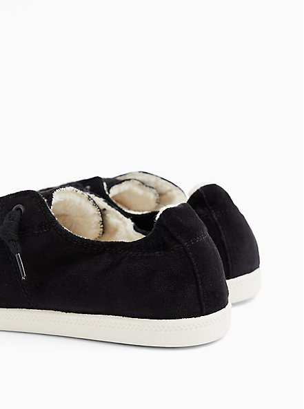 Riley - Black Velvet Fur Lined Sneaker (WW), BLACK, alternate