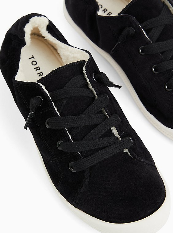Riley - Black Velvet Fur Lined Sneaker (WW), BLACK, hi-res