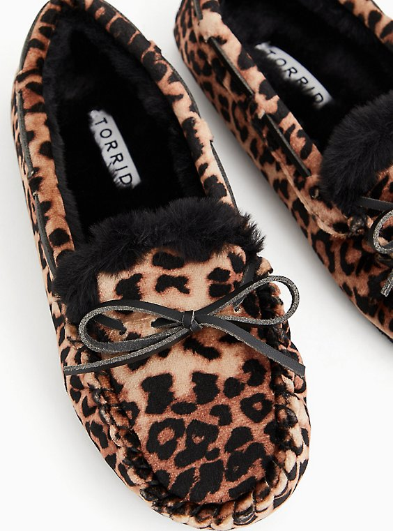 Leopard Velvet Bow Faux Fur Slipper (WW), , hi-res
