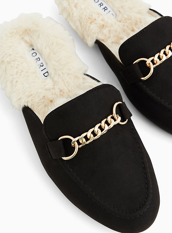 Black Faux Fur Loafer Mule (WW), , hi-res