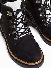 Black Faux Suede & Faux Shearling Trimmed Hiker Lug Boot (WW), BLACK, alternate