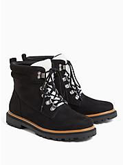 Black Faux Suede & Faux Shearling Trimmed Hiker Lug Boot (WW), BLACK, hi-res