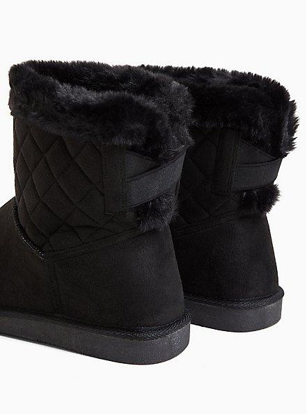 Black Faux Suede Fur Trimmed Quilted Cozy Bootie (WW), BLACK, alternate