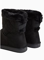 Black Faux Suede Fur Trimmed Quilted Cozy Bootie (WW), BLACK, alternate