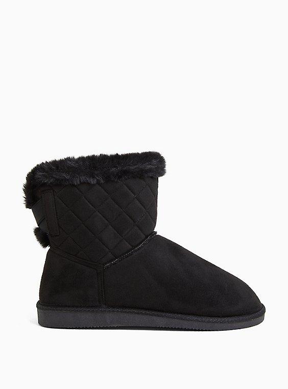 Black Faux Suede Fur Trimmed Quilted Cozy Bootie (WW), BLACK, hi-res