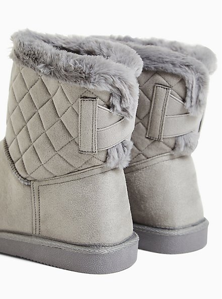 Charcoal Grey Faux Suede Fur Trimmed Quilted Cozy Bootie (WW), GREY, alternate