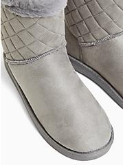 Grey Faux Suede & Faux Fur Trimmed Quilted Cozy Bootie (WW), GREY, alternate