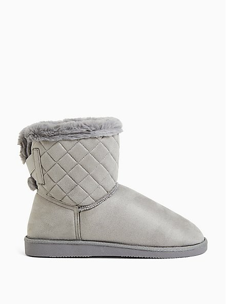 Charcoal Grey Faux Suede Fur Trimmed Quilted Cozy Bootie (WW), GREY, hi-res