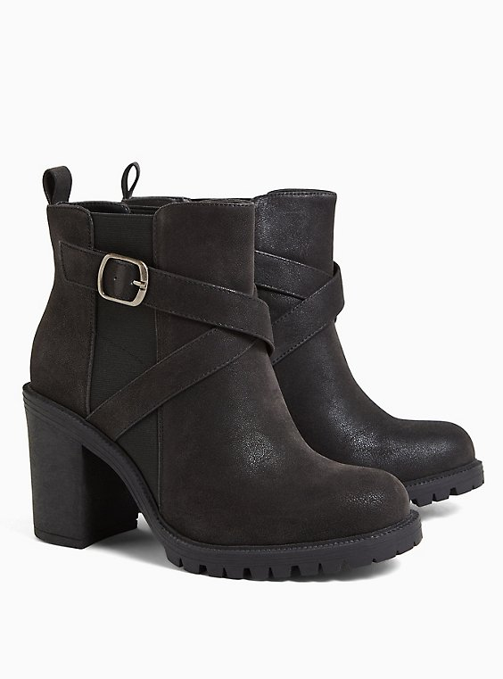 Black Criss Cross Wrap Lug Bootie (WW), BLACK, hi-res