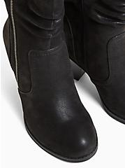Black Faux Suede Slouch Bootie, BLACK, alternate