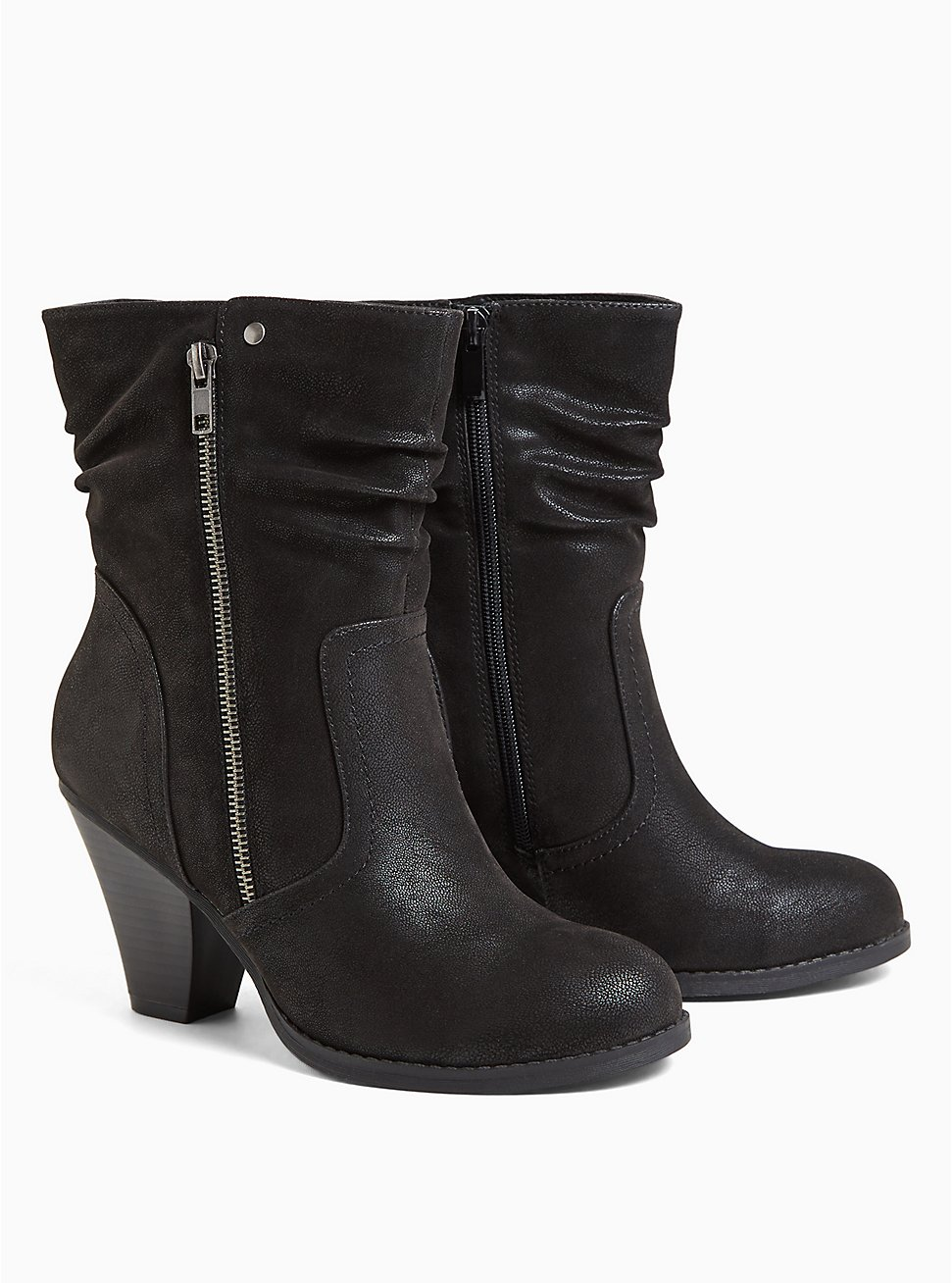 Black Faux Suede Slouch Bootie (WW), BLACK, hi-res