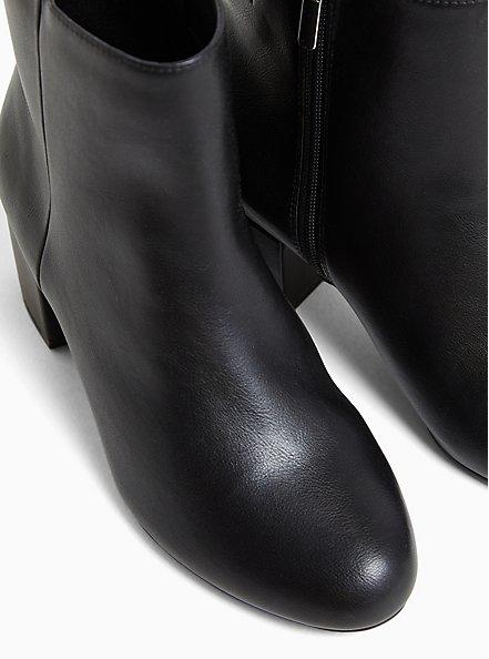 Black Faux Leather Ankle Bootie (WW), BLACK, alternate