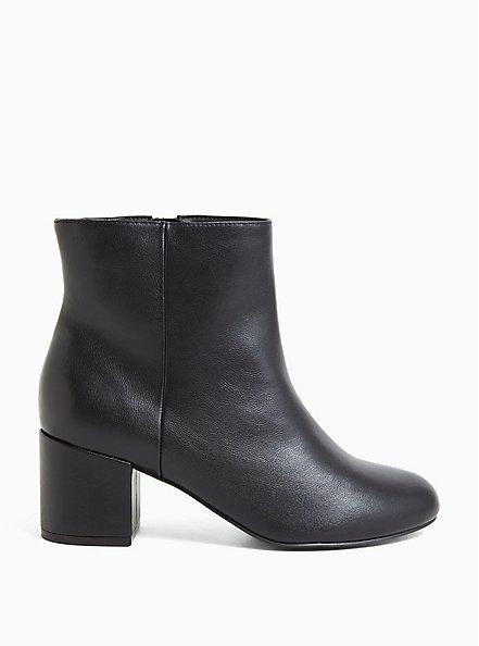 Black Faux Leather Ankle Bootie (WW), BLACK, hi-res