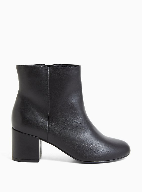 Black Faux Leather Ankle Bootie (WW), , hi-res