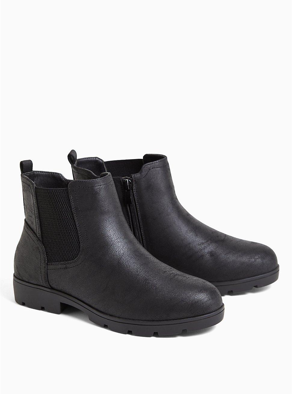 Plus Size Black Oiled Faux Suede Chelsea Lug Bootie (WW), BLACK, hi-res