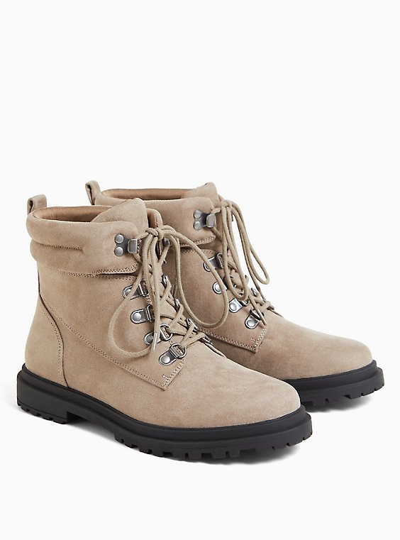 Taupe Faux Suede Hiker Lug Boot (WW), , hi-res