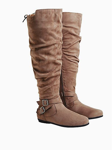 Dark Taupe Faux Suede Corset Buckle Over-the Knee Boot (WW & Wide to Extra Wide Calf), TAN/BEIGE, alternate