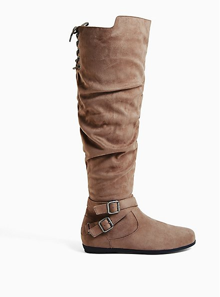 Dark Taupe Faux Suede Corset Buckle Over-the Knee Boot (WW & Wide to Extra Wide Calf), TAN/BEIGE, hi-res