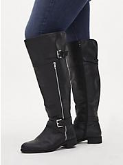 Black Faux Leather Zipper Over-The-Knee Boot (WW), BLACK, alternate