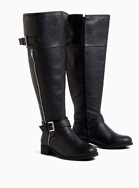 Black Faux Leather Zipper Over-The-Knee Boot (WW), , hi-res