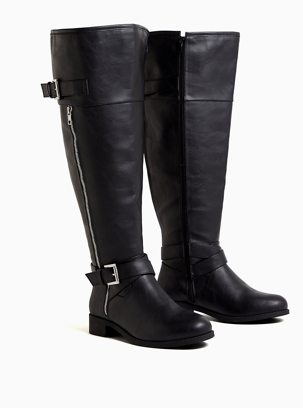 Black Faux Leather Zipper Over-The-Knee Boot (WW), BLACK, hi-res