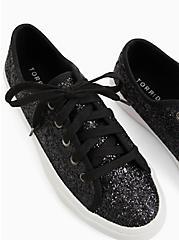 Black-Tone Metallic Glitter Sneaker (WW), BLACK, alternate