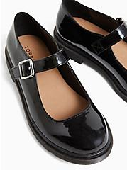 Black Faux Leather Mary Jane Oxford Flat (WW), BLACK, alternate
