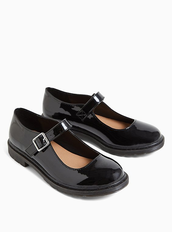 Black Faux Leather Mary Jane Oxford Flat (WW), , hi-res