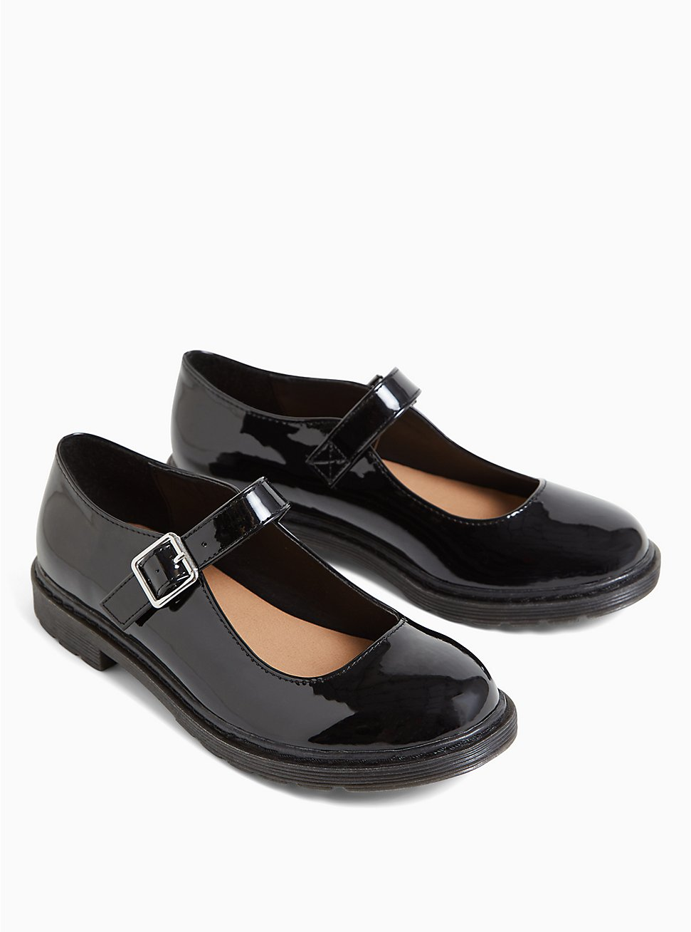 Black Faux Leather Mary Jane Oxford Flat (WW), BLACK, hi-res
