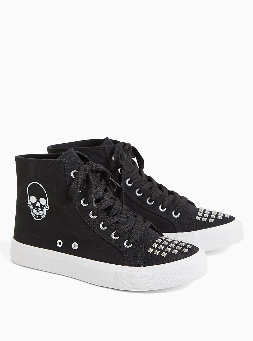 Black Skull High-Top Sneaker (WW), BLACK, hi-res
