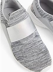 Grey Knit Elastic Strap Slip-On Sneaker (WW), GREY, hi-res