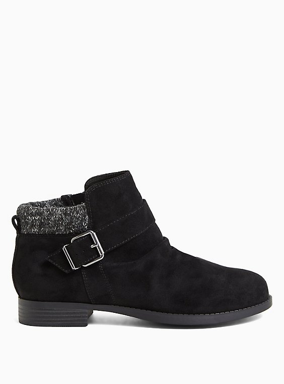 Black Faux Suede Sweater-Trimmed Buckle Ankle Bootie (WW), , hi-res