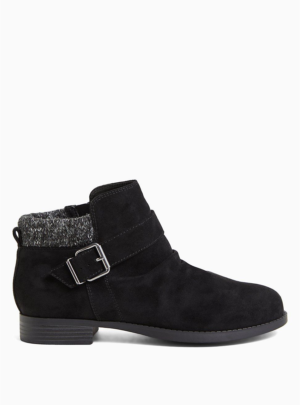 Black Faux Suede Sweater-Trimmed Buckle Ankle Bootie (WW), BLACK, hi-res
