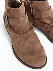 Taupe Faux Suede Sweater-Trimmed Buckle Ankle Bootie (WW), TAN/BEIGE, alternate