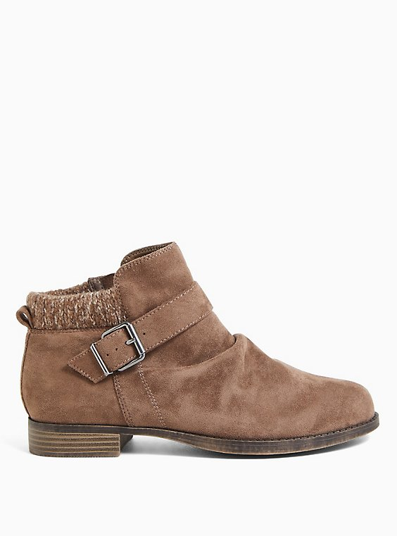 Taupe Faux Suede Sweater-Trimmed Buckle Ankle Bootie (WW), TAN/BEIGE, hi-res