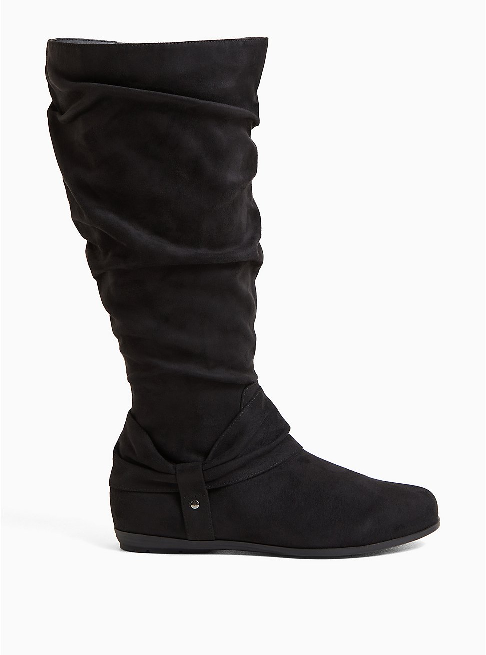 Black Faux Suede Scrunched Knee-High Boot (WW & Wide to Extra Wide Calf), BLACK, hi-res
