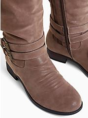 Plus Size Dark Taupe Faux Suede Mid-Calf Tall Boot (WW), TAN/BEIGE, alternate