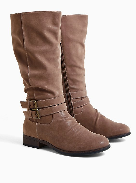 Dark Taupe Faux Suede Mid-Calf Tall Boot (WW), TAN/BEIGE, hi-res