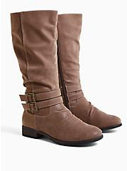Plus Size Dark Taupe Faux Suede Mid-Calf Tall Boot (WW), TAN/BEIGE, hi-res