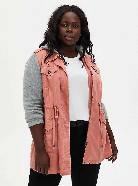 Dusty Coral Twill & Hacci Drawstring Anorak, DESERT SAND, hi-res