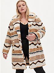 Ivory Ikat Faux Fur Jacket, IKAT - WHITE, alternate