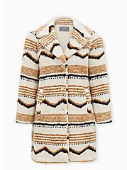 Ivory Ikat Faux Fur Jacket, IKAT - WHITE, hi-res