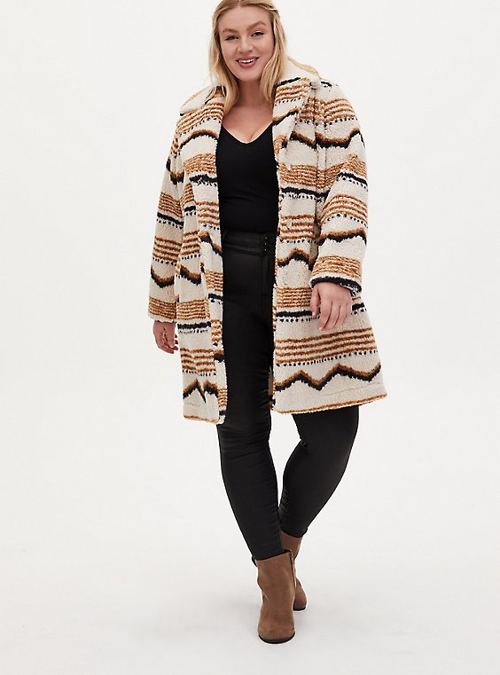 Ivory Ikat Faux Fur Jacket, , hi-res