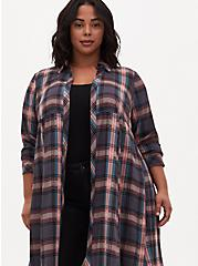 Multi Plaid Challis Duster Shirt Kimono, PLAID - GREY, alternate