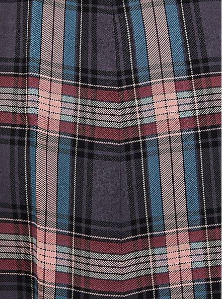 Multi Plaid Challis Duster Shirt Kimono, PLAID - GREY, alternate